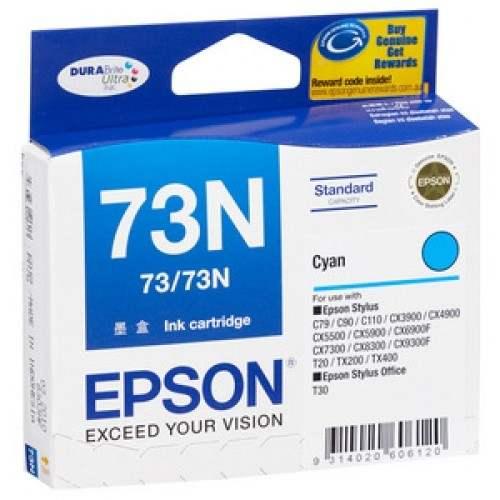 Singapore Original Epson 73N Cyan Ink (C13T105290) For Printer: Epson C79, C90, C110, CX3900, CX5500, CX5900, CX6900F, CX7300, CX8300, C9300F, T10, TX100, TX200, TX400, T30, TX300F