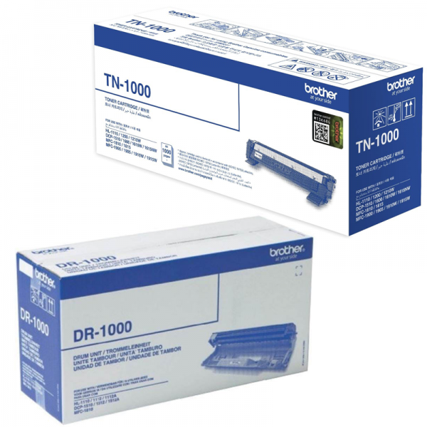 Singapore Original Brother TN-1000 Toner and DR-1000 Drum for For Printer: HL-1110, HL-1200, HL-1210W, DCP-1510, DCP-1600, DCP-1610W, DCP-1615NW, MFC-1810, MFC-1815, MFC-1900, MFC-1905, MFC-1910W, MFC-1915W