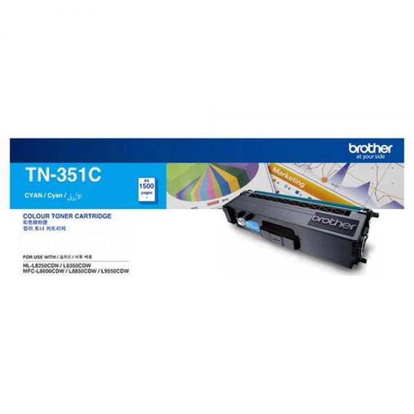 Singapore Original Brother TN-351C Cyan Toner for Printer Model: HL-L8250CDN, HL-L8350CDW, MFC-L8850CDW, MFC-L9550CDW