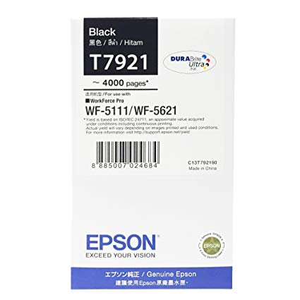 Singapore Original Epson T7921 Black Ink (C13T792190) For Printer: WF-5111, WF-5621