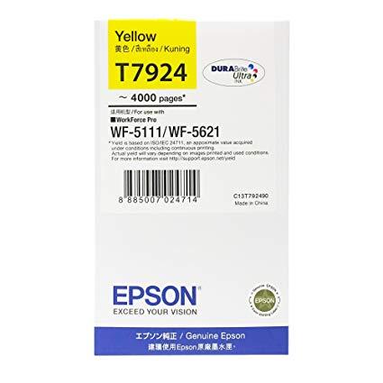 Singapore Original Epson T7924 Yellow Ink (C13T792490) For Printer: WF-5111, WF-5621