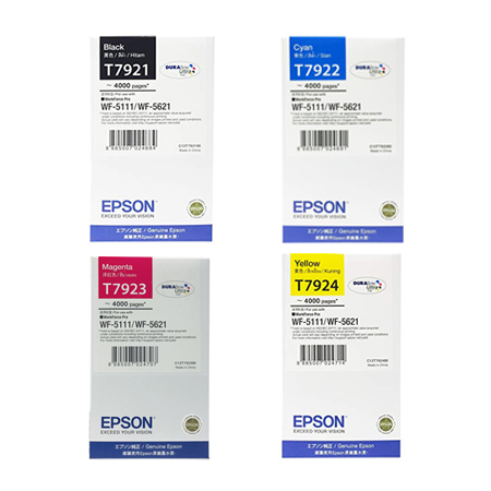 Singapore Original Epson T7921 Black (C13T792190) and T7922 Cyan (C13T792290) and T7923 Magenta (C13T792390) and T7924 Yellow (C13T792490) Ink For Printer: WF-5111, WF-5621