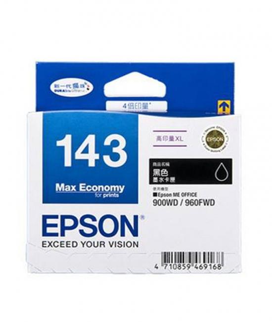 Singapore Original Epson 143 Black Ink (C13T143190) For Printer: Epson ME Office 82WD, 90WD, 960FWD, WorkForce WF-3011, WF-3521, WF-7011, WF-7511