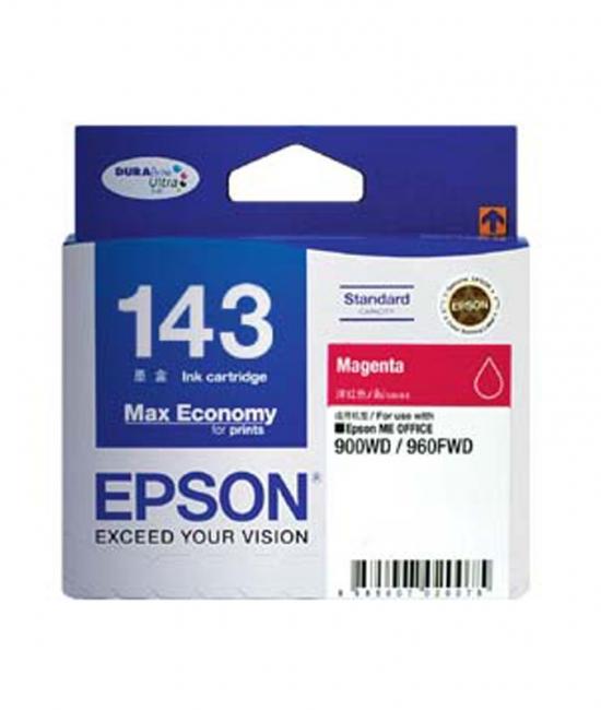 Singapore Original Epson 143 Magenta Ink (C13T143390) For Printer: Epson ME Office 82WD, 90WD, 960FWD, WorkForce WF-3011, WF-3521, WF-7011, WF-7511