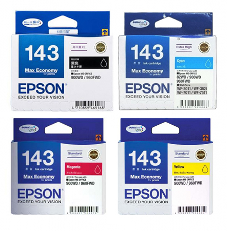 Singapore Original Epson 143 Black (C13T143190) and Cyan (C13T143290) and Magenta (C13T143390) and Yellow (C13T143490) Ink For Printer: Epson ME Office 82WD, 90WD, 960FWD, WorkForce WF-3011, WF-3521, WF-7011, WF-7511