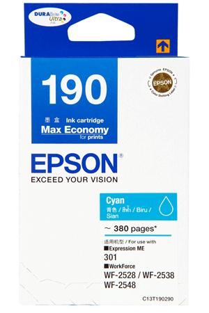 Singapore Original Epson T190 Cyan Ink (C13T190290) For Printer: Expression ME 301, WF-2528, WF-2538, WF-2548