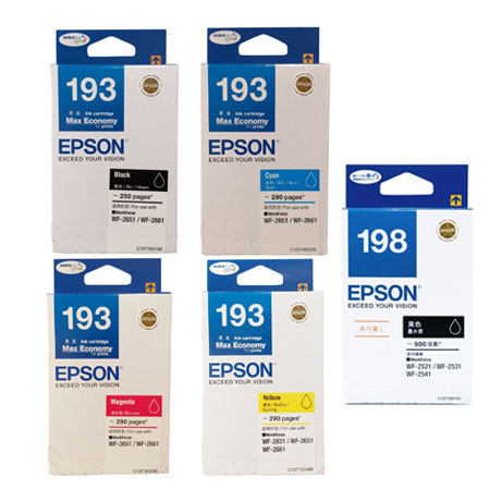 Singapore Original Epson 193 Black (C13T193190) and Cyan (C13T193290) and Magenta (C13T193390) and Yellow (C13T193490) and 198 Black (C13T198190) For Printer: WF-2631, WF-2651, WF-2661