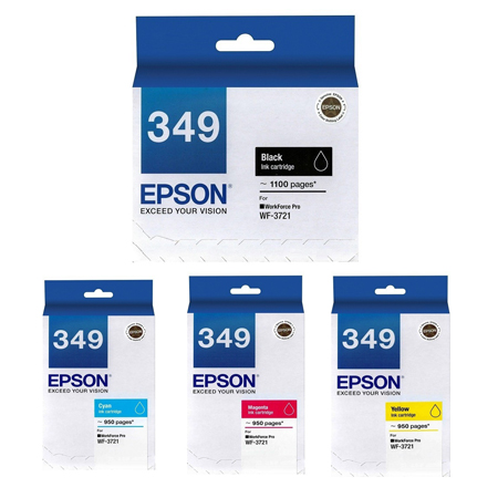 Singapore Original Epson T349 Black (C13T349190) and Cyan Ink (C13T349290) and Magenta (C13T349390) /and Yellow (C13T349490) For Printer: WF-3721