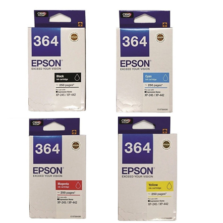 Singapore Original Epson 364 Black (C13T364190) and Cyan (C13T364290) and Magenta (C13T364390) and Yellow (C13T364490) Ink For Printer: XP-245, XP-442