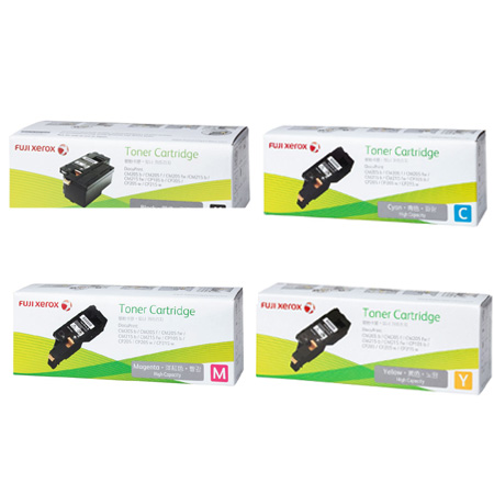 Singapore Original Fuji Xerox Toner CT201591 Black and CT201592 Cyan and CT201593 Magenta and CT201594 Yellow Toner for Printer Models: DocuPrint CM205 b, CM205 f, CM205 fe, CM215 b, CM215 fw, CP105 b, CP205, CP205 w, CP215 w