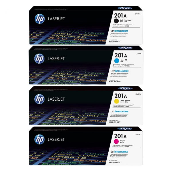 Singapore Original HP-201A Black (CF400A) and Cyan (CF401A) and Yellow (CF402A) and Magenta (CF403A) Toner For Printer: HP Color LaserJet Pro M252dw, M252n, MFP M277dw, MFP M277n