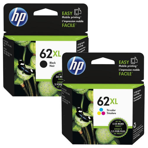 Singapore Original HP-62XL Black (C2P05AA) and HP-62XL Tri-Color (C2P07AA) Ink For Printer: HP ENVY 5640, 7640, HP Officejet 5740