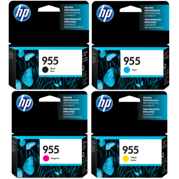 Singapore Original HP-955 Black Ink (L0S60AA) / Cyan (L0S51AA) / Magenta (L0S54AA) / Yellow (L0S57AA) For Printer: HP OfficeJet Pro 8710, 8720, 8730, 8210, 8216, 8740, 8745, 7740
