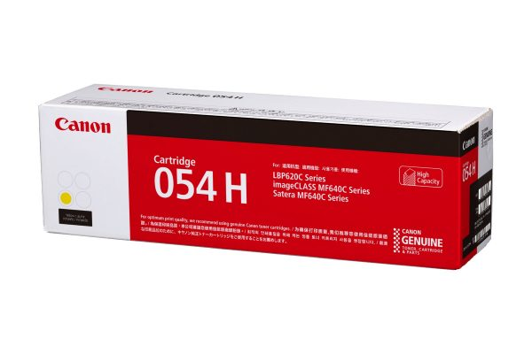 Singapore Original Canon Cart-054H Yellow High Capacity Toner for Printer Models: imageCLASS MF641Cw, MF643Cdw, MF645Cx, LBP621Cw, LBP623Cdw