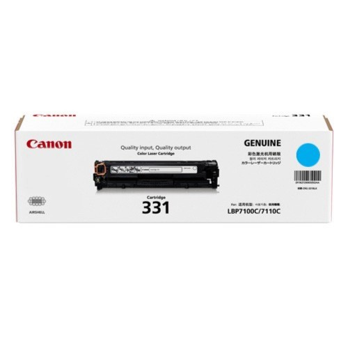 Singapore Original Canon Cart-331 Cyan Toner for Printer Models: LBP-7100Cn, 7110Cw, MF8210Cn, MF8280Cw, MF628CW, MF621Cn