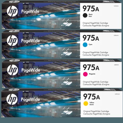 Singapore Original HP-975A Black (L0R97AA), Cyan (L0R88AA), Magenta (L0R91AA), Yellow (L0R94AA) Ink For Printer: HP PageWide Pro 452dw, 552dw, 477dw, 577dw, 577z