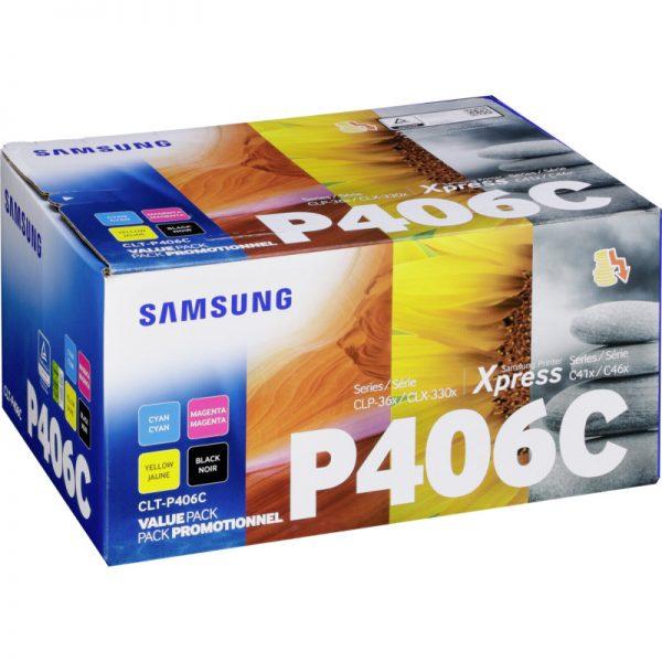 Singapore Original Samsung CLT-P406C/SEE Value Pack Toner for Printer Models: CLP-365, CLX-3305, SL-C410, SL-C460